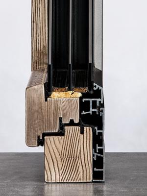 Legno alluminio complanare angolare vista fronte